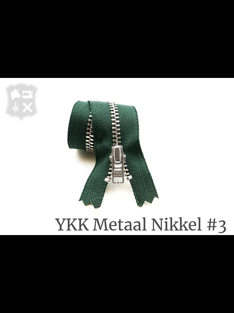 YKK Metaal YKK Metalen rits #3 Zilver, geremd, 15 cm - Donker Groen 890