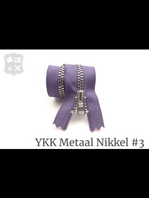 YKK Metaal Metalen rits #3 Zilver, geremd, enkel, 15 cm - (P13 - Paars 380)
