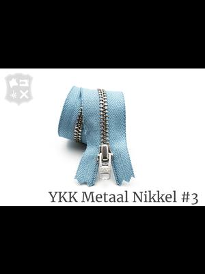 YKK Metaal Metalen rits #3 Zilver, geremd, enkel, 15 cm - (ZD4 - Lichtblauw 012)