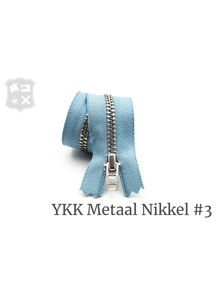 YKK Metaal YKK Metalen rits #3 Zilver, geremd, 15 cm - Lichtblauw 012