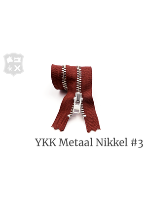 YKK Metaal Metalen rits #3 Zilver, geremd, enkel, 15 cm - (S19 - Wijnrood 094)