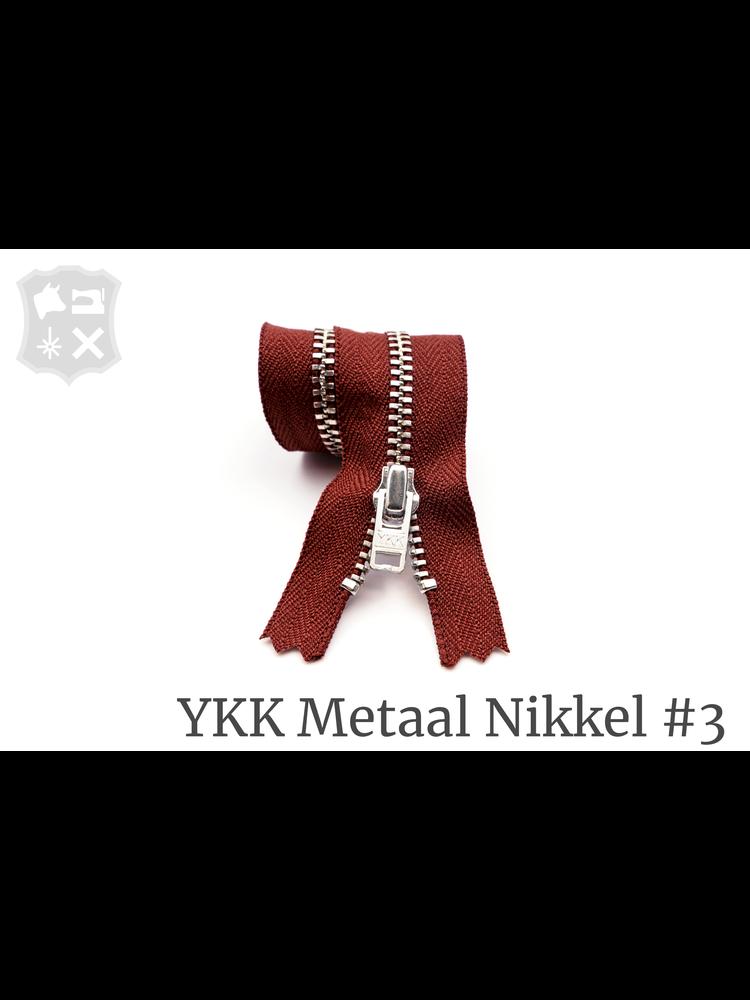 YKK Metaal YKK Metalen rits #3 Zilver, geremd, 15 cm - Wijnrood 094