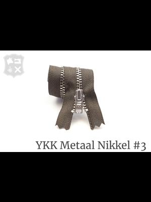 YKK Metaal Metalen rits #3 Zilver, geremd, enkel, 15 cm - (Y15- Donker Taupe 394)