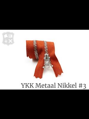 YKK Metaal Metalen rits #3 Zilver, geremd, enkel, 15 cm - (S16 Baksteen Oranje 450)