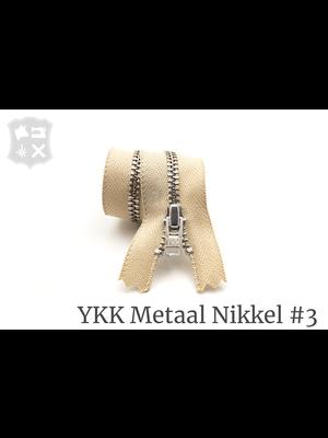 YKK Metaal Metalen rits #3 Zilver, geremd, enkel, 15 cm - (I10- Zand 371)