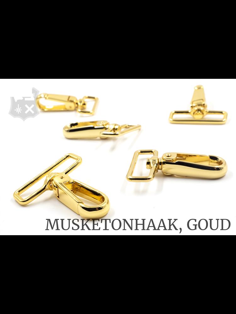 Musketonhaak, goudkleurig, 40,7 mm (2 stuks)