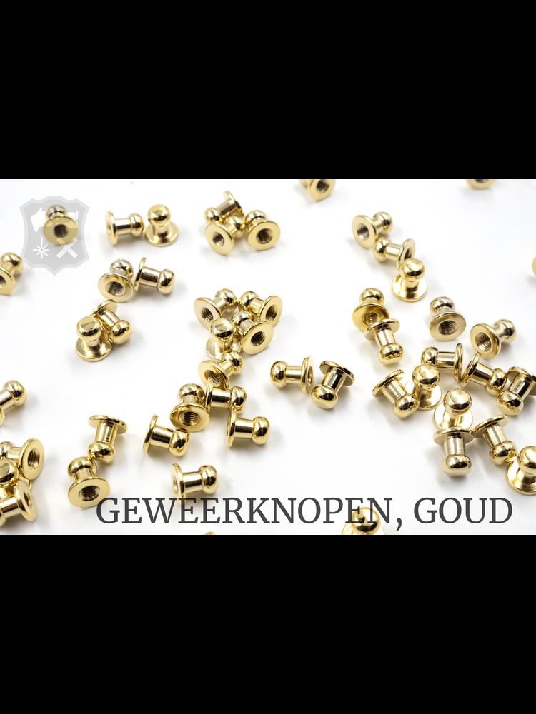 Geweerknop, goudkleurig, kop 5mm (20 stuks)