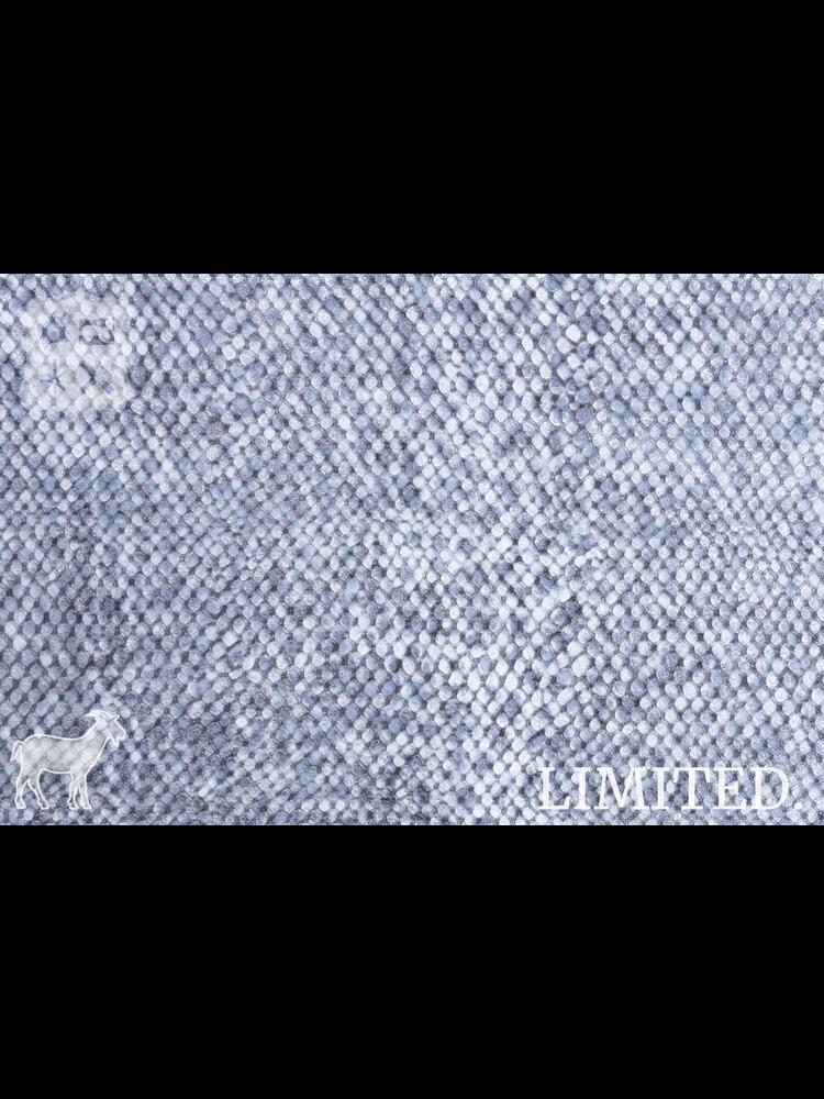 Geiten leder met slangenprint, zilver/blauw metallic met glitters