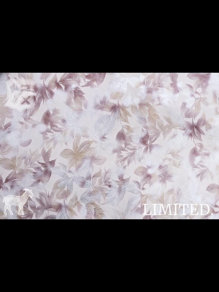 Geiten leder metallic bloemenprint