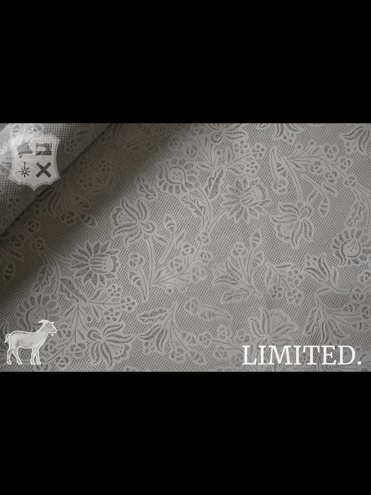 Geiten leder in grijs met bloemenprint