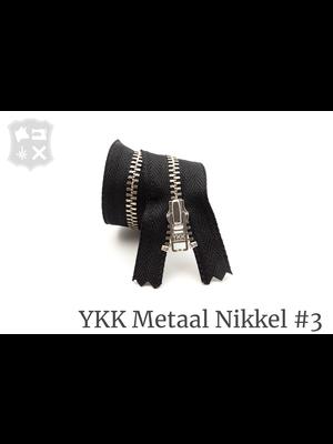 YKK Metaal Metalen rits #3 Zilver, geremd, enkel, verschillende lengtes - (ZA19 - Zwart 580)