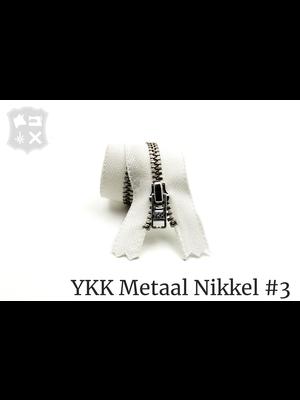 YKK Metaal Metalen rits #3 Zilver, geremd, enkel, verschillende lengtes - (AA19 - Wit 501)