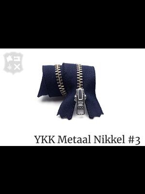 YKK Metaal Metalen rits #3 Zilver, geremd, enkel, verschillende lengtes - (K16 - Marineblauw 058)