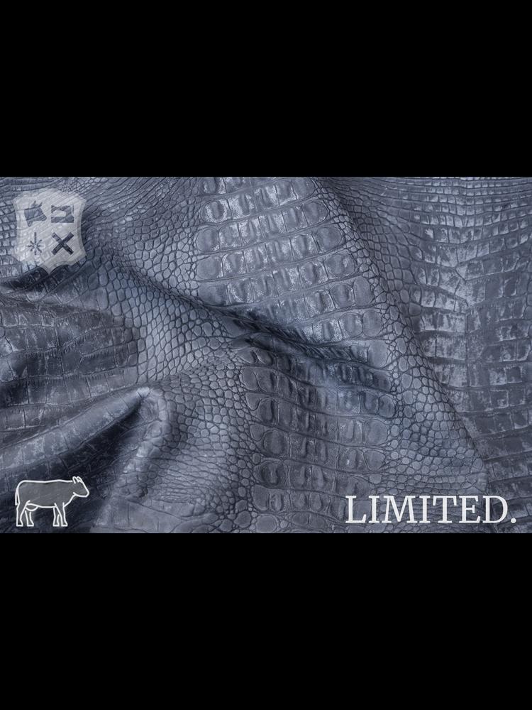 Krokoprint met pull-up in grijs tint, 1.3-1.5 mm (UITVERKOCHT)