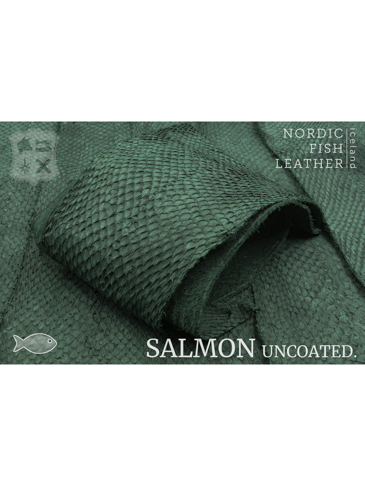 Nordic Fish Leather Visleer Zalm in de kleur Bliða 904s (groen), niet gefinisht