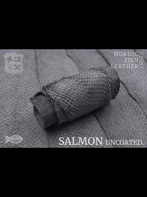 Nordic Fish Leather Visleder Zalm in de kleur Vala 956s (grijs), niet gefinisht