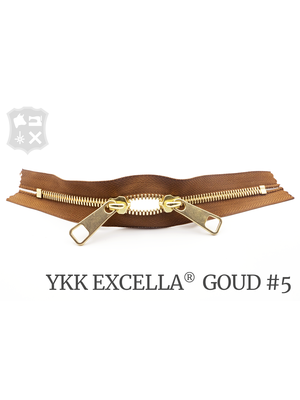 YKK Excella® YKK Excella Rits #5 Goud op maat (dubbel / head-to-head) - (C17 - Cognac 859)