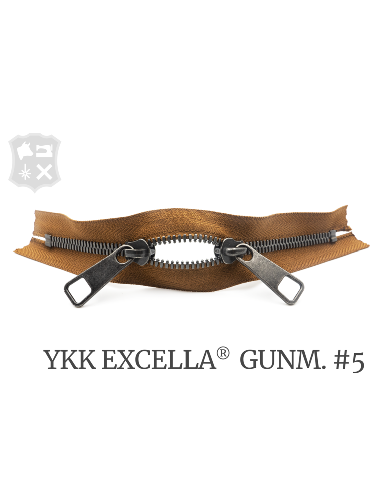 YKK Excella® YKK Excella Rits #5 Gunmetal op maat (dubbel / head-to-head) - (C17 - Cognac 859)