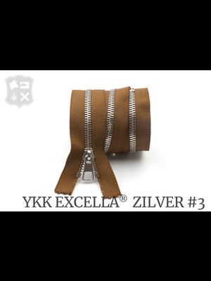 YKK Excella® YKK Excella Rits #3 zilver op maat (enkel) - (C17: Cognac 859)