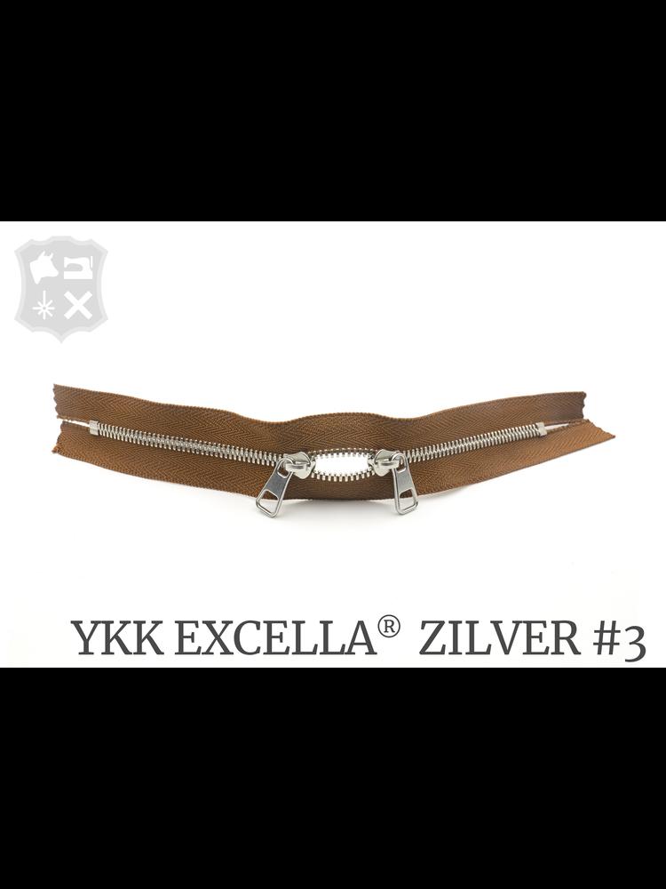 YKK Excella® YKK Excella Rits #3 zilver op maat (dubbel / head-to-head) - (C17 Cognac 859)