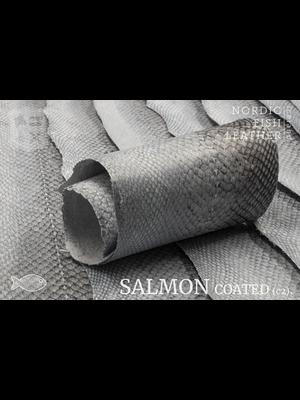 Nordic Fish Leather Zalm, Natural 910s (niet-gekleurd), gefinisht met zijdeglans, gesloten schubben