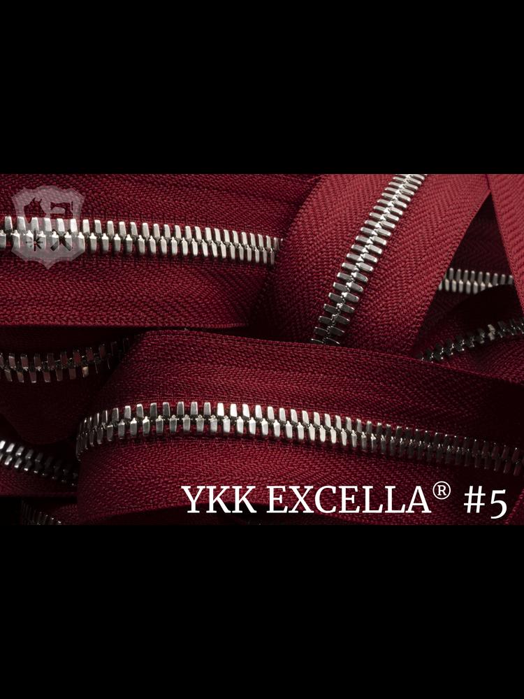 YKK Excella® Excella® #5 Zilver van de rol - (T18 - Rood 520)