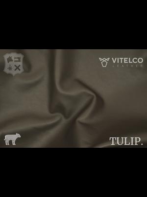 Vitelco Leather Gaubadine Taupe - Tulip collectie: Soepele kalfsleder met een rijke en zachte touch