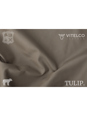 Vitelco Leather Taupe - Tulip collectie: Soepele kalfsleder met een rijke en zachte touch