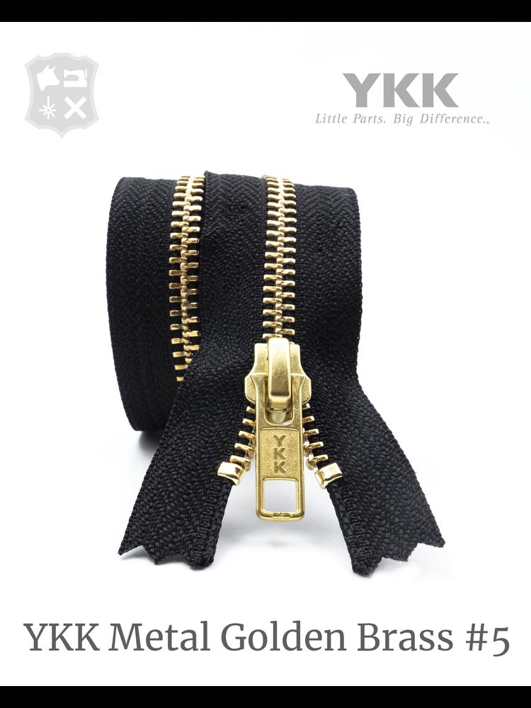 YKK Metaal Metalen rits #5 Golden Brass, Zwart, geremd - (ZA19 - zwart 580)