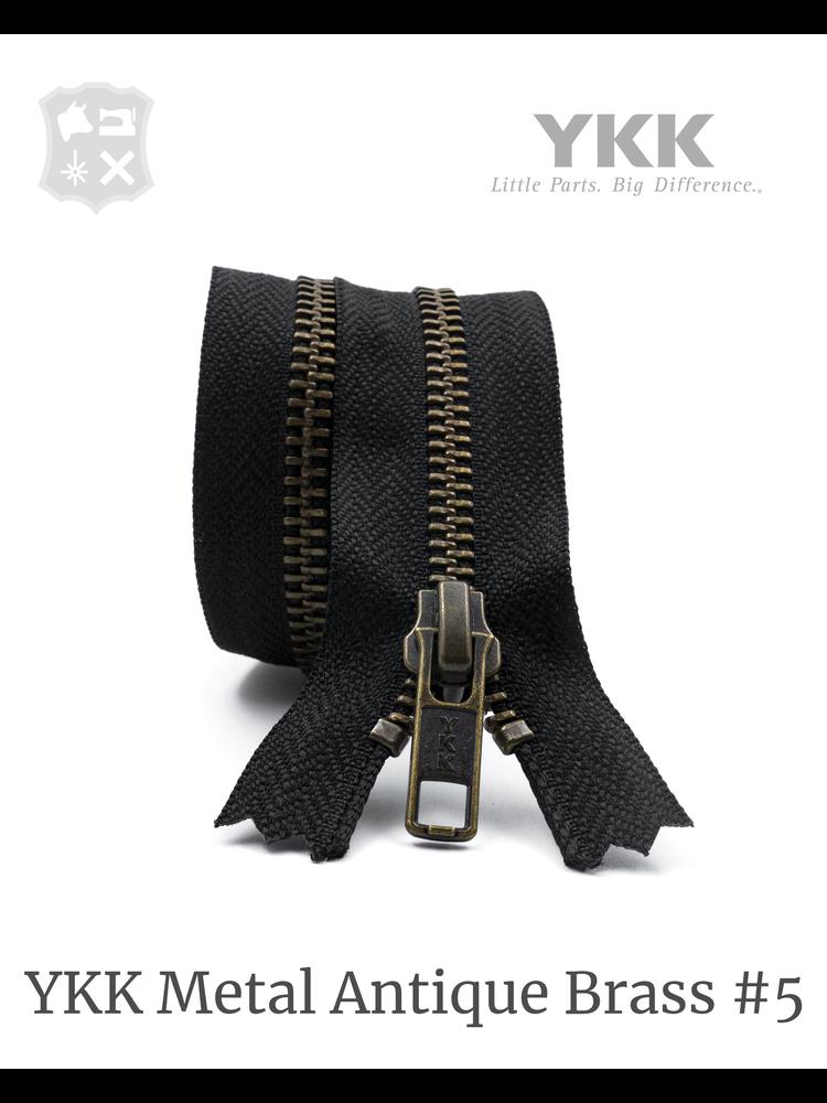 YKK Metaal Metalen rits #5 Antique Brass, Zwart, geremd - (ZA19 - zwart 580)