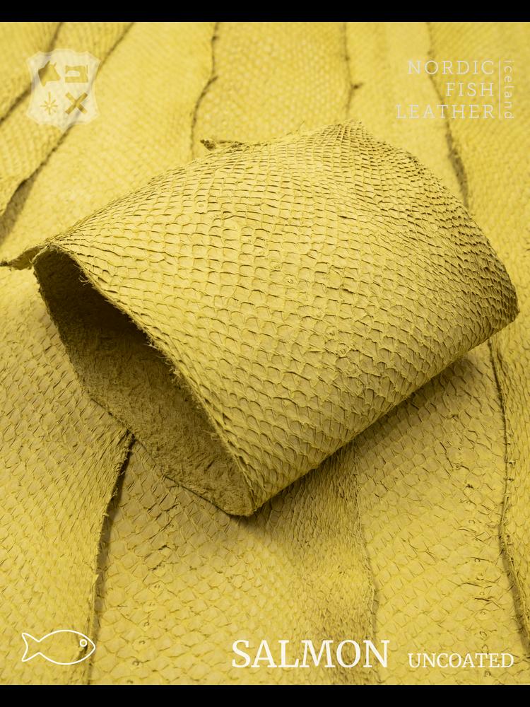 Nordic Fish Leather Visleer Zalm in de kleur Bjartur 104s (Geel), niet gefinisht