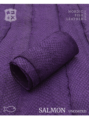 Nordic Fish Leather Visleer Zalm in de kleur Galdur 127s (paars), niet gefinisht