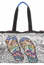 PE Florence Große Strandtasche Flip Flop mit Perlenstickerei