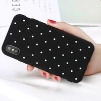 thumb-Movizy iPhone X siliconen cover polkadot - zwart-1