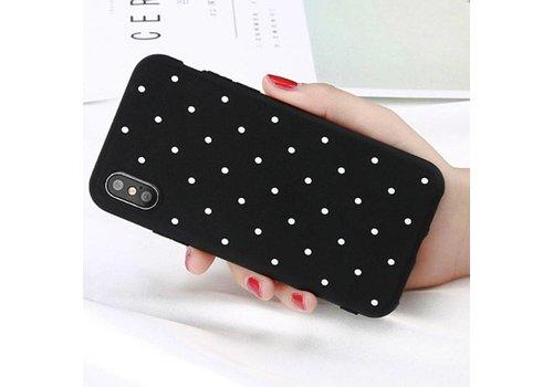Movizy iPhone X siliconen cover polkadot -zwart