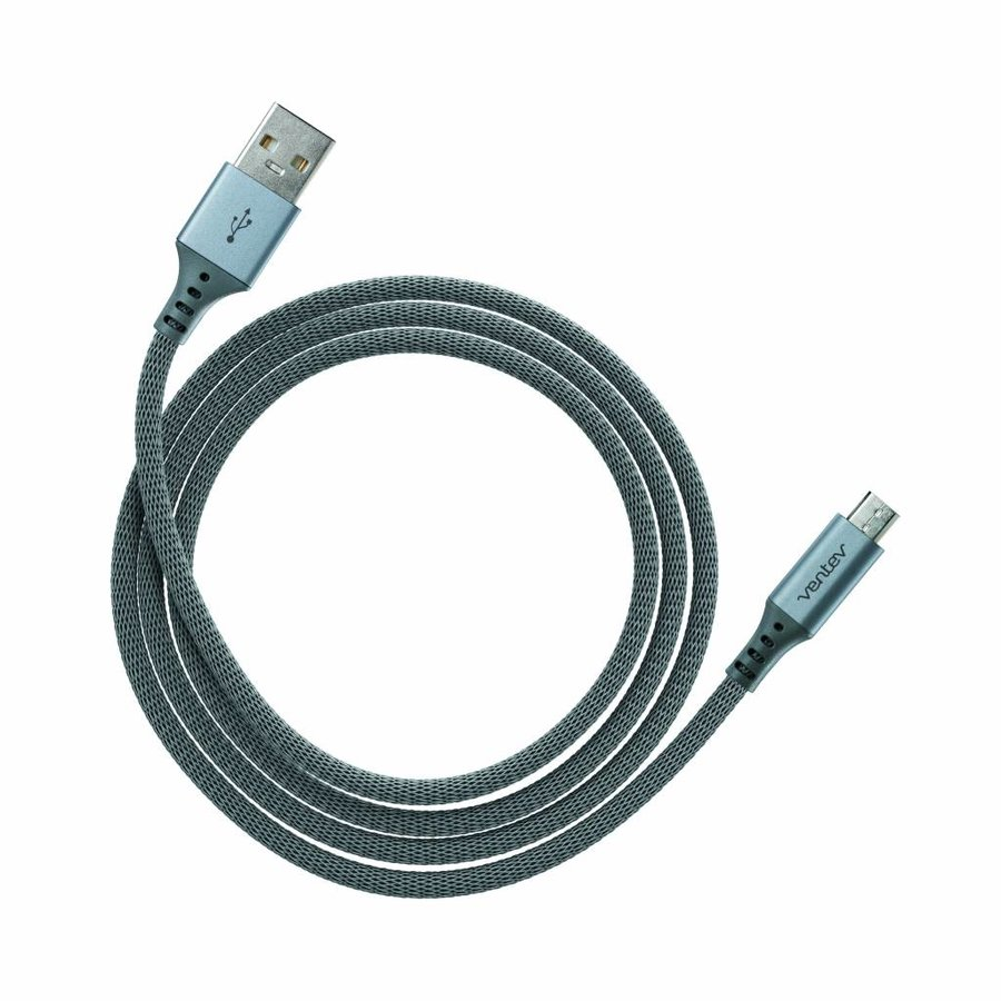 Ventev charge & sync cable 4ft USB-A to microUSB stealth black-1