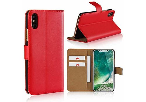 Movizy lederen walletcase iPhone X(s) - rood