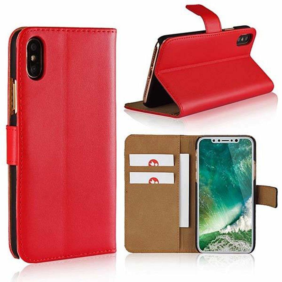 Movizy lederen walletcase iPhone X(s) - rood-1