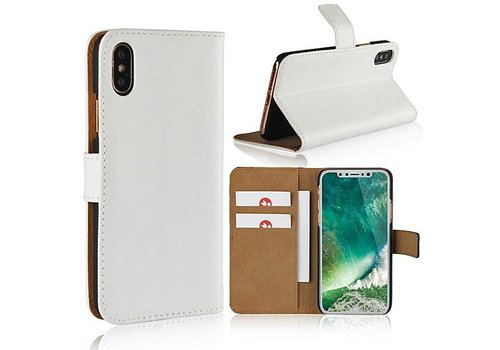 Movizy lederen walletcase iPhone X(s) - wit
