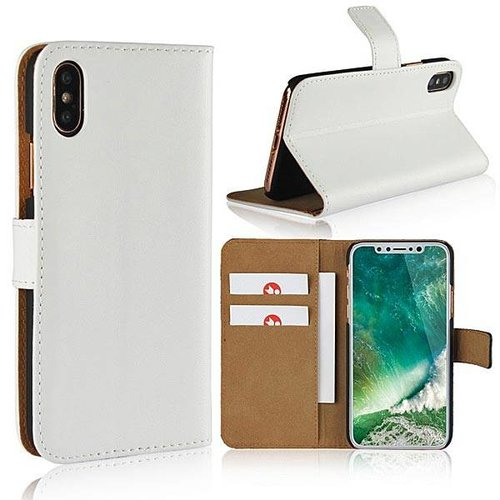 Movizy lederen walletcase iPhone X(s) - wit