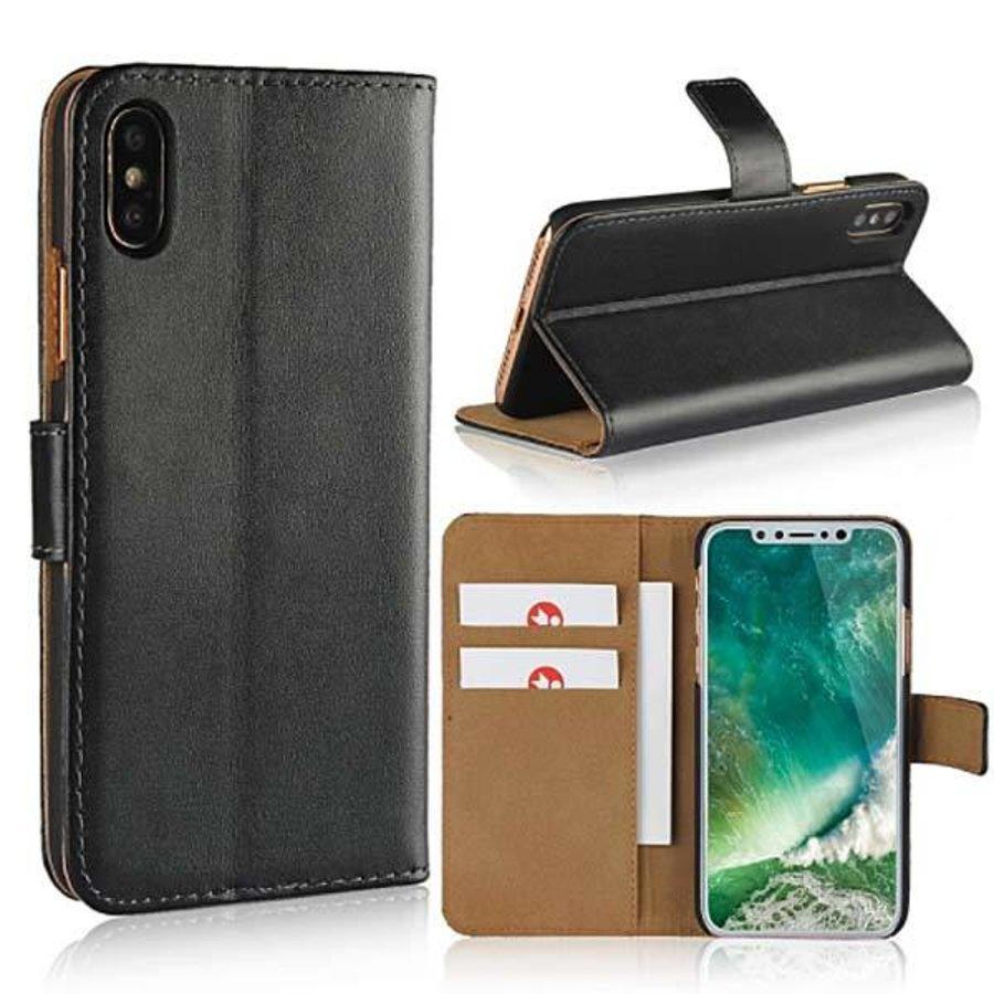 Movizy lederen walletcase iPhone X(s) - zwart-1