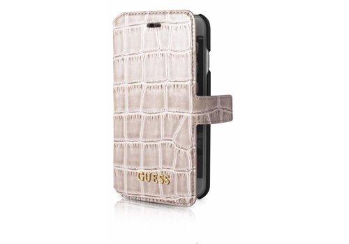 Guess iPhone 7/8 Croco Wallet Case Beige