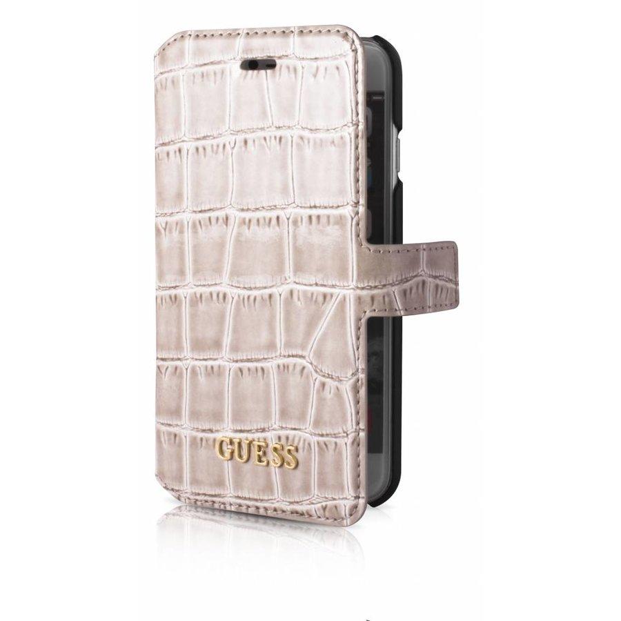 Guess iPhone 7/8 Croco Wallet Case Beige-2