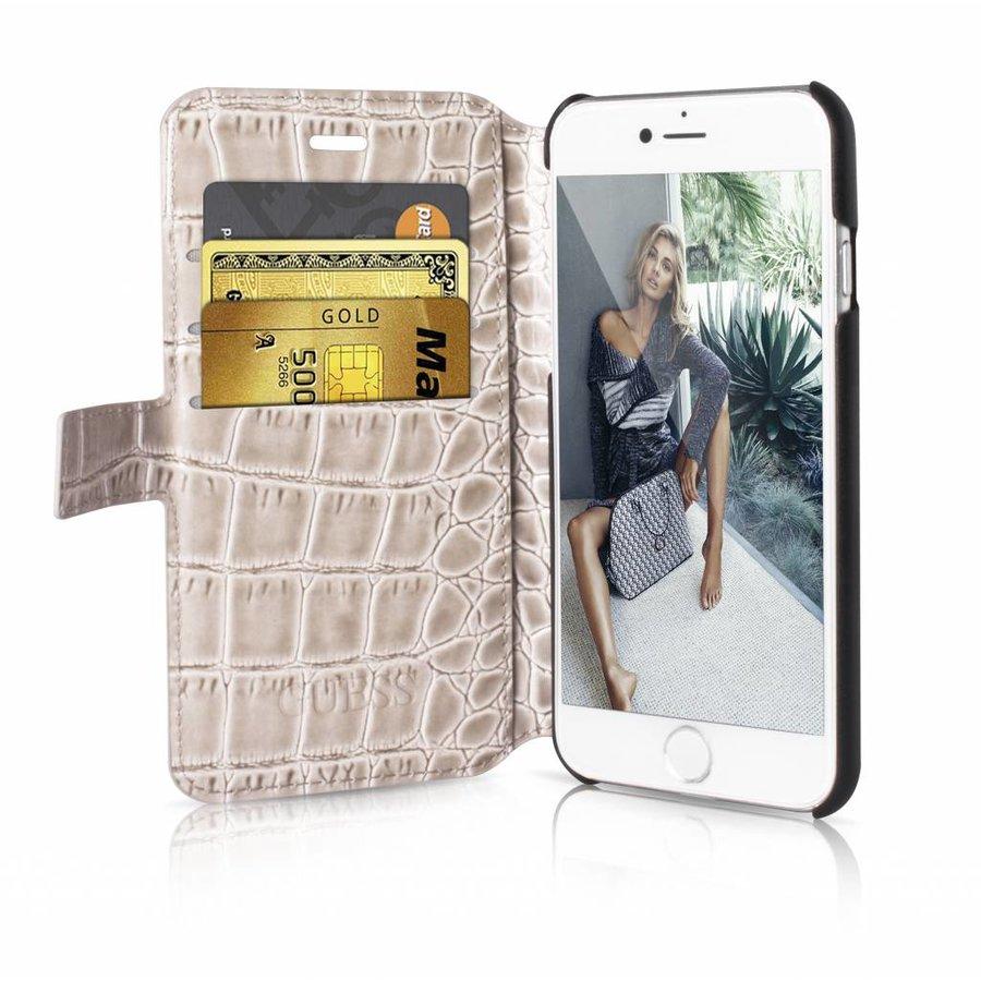 Guess iPhone 7/8 Croco Wallet Case Beige-1