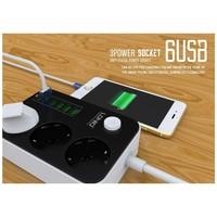 thumb-LDNIO Power Strip (6 USB Ports) (lengte kabel 160cm)-2