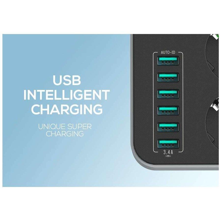 LDNIO Power Strip (6 USB Ports) (lengte kabel 160cm)-3