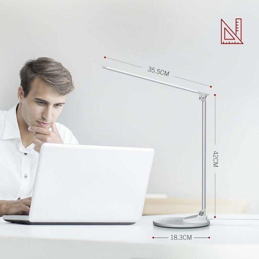Taotronics LED Bureaulamp   5 Lichtstanden & 5 Helderheidsniveaus   Draadloos Opladen   USB-poort  -4