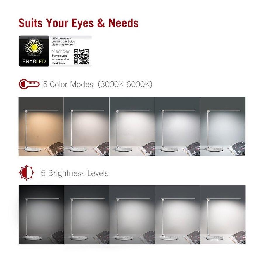 Taotronics LED Bureaulamp   5 Lichtstanden & 5 Helderheidsniveaus   Draadloos Opladen   USB-poort  -5