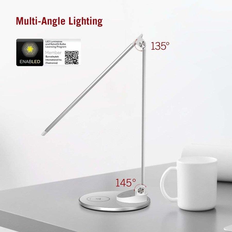 Taotronics LED Bureaulamp   5 Lichtstanden & 5 Helderheidsniveaus   Draadloos Opladen   USB-poort  -6