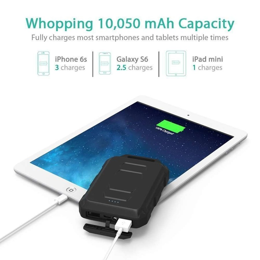 RAVPower 10.050mAh Rugged Portable Powerbank RP-PB044 (Black)-4